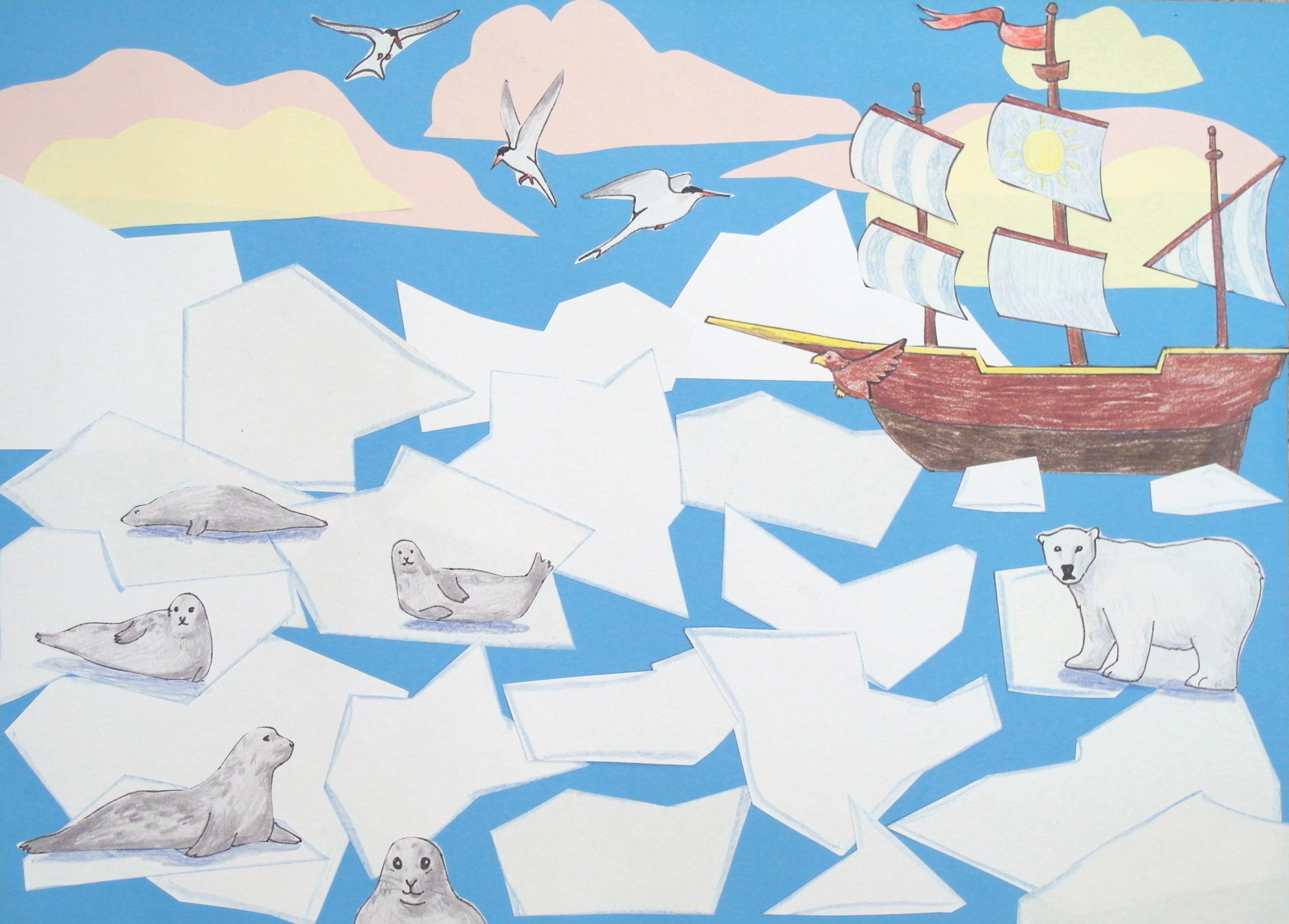 Statek na morzu z krami i fokami.