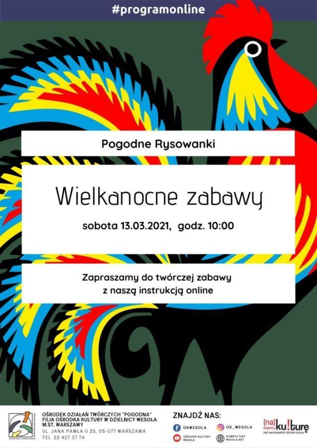 Plakat z kolorowym kogutem