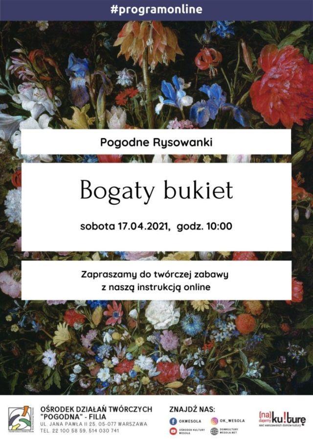 Plakat z bukietem kwiatów.
