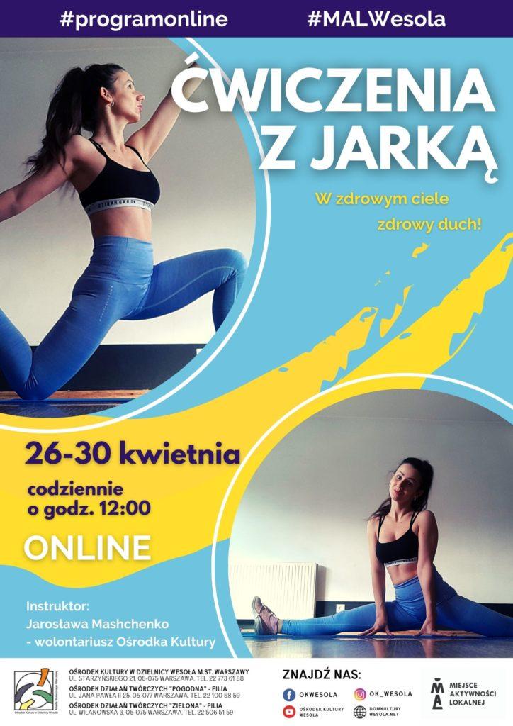 Plakat ze zdjęciami ćwiczącej trenerki fitness.