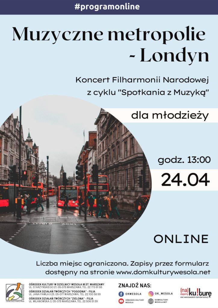 Plakat z ulicą Londynu i czerwonymi autobusami.