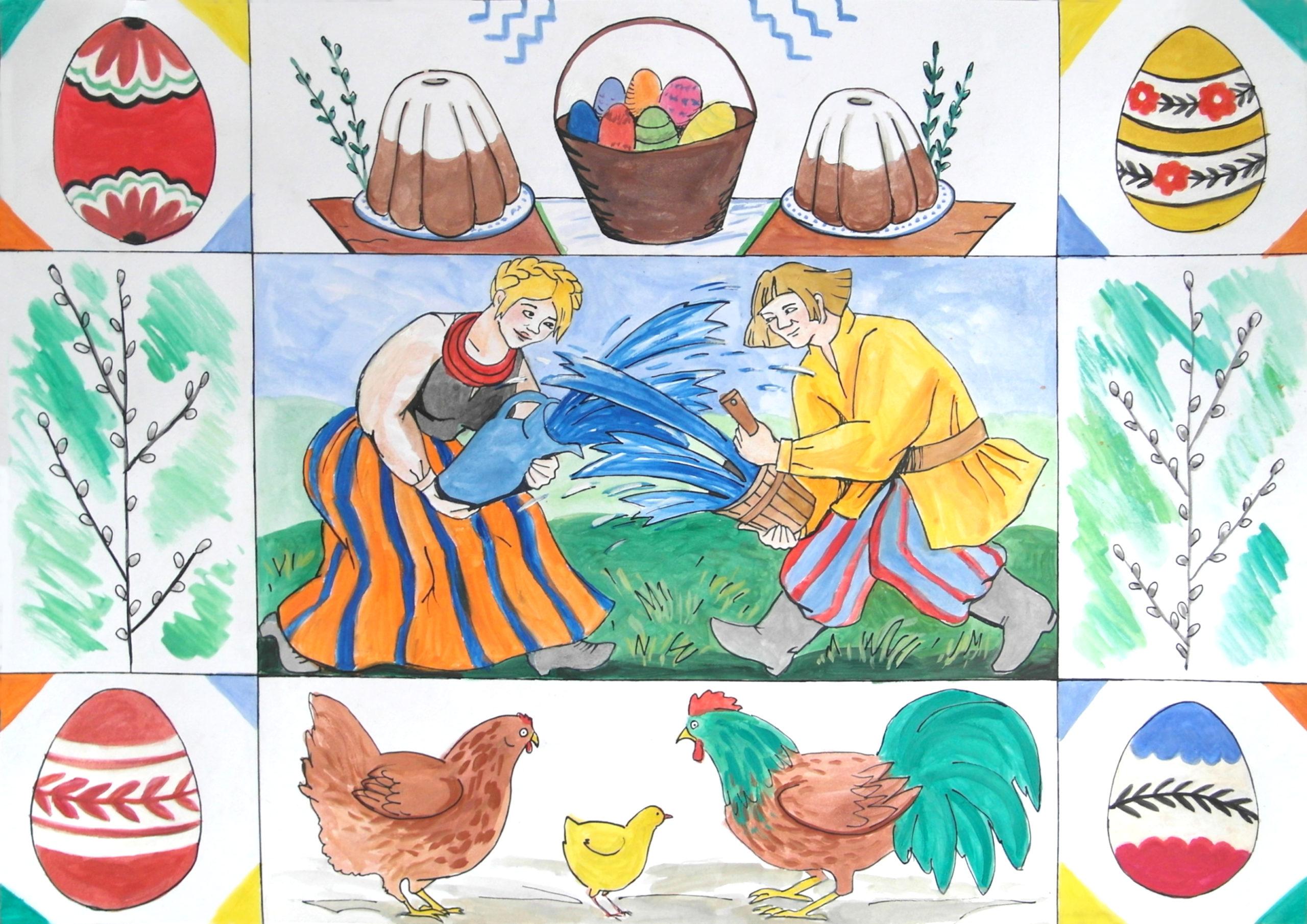 Malowany obrazek - wielkanocne symbole i para oblewająca się wodą.