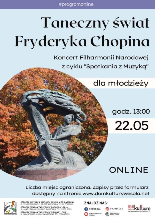 Plakat z pomnikiem Fryderyka Chopina.