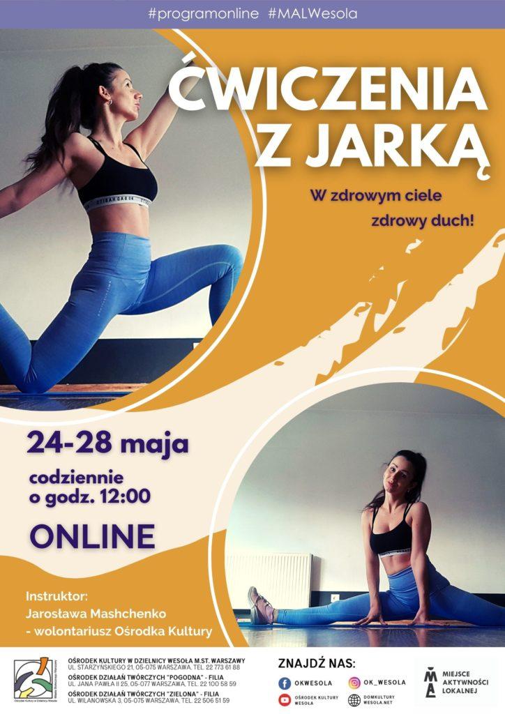 Plakat ze zdjęciami ćwiczącej instruktorki fitness.