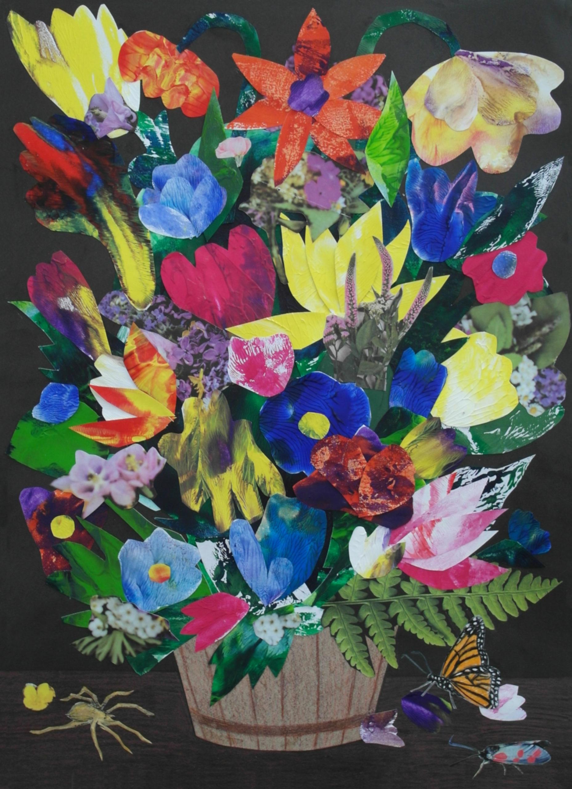 bukiet kwiatów stworzony z wycinanek