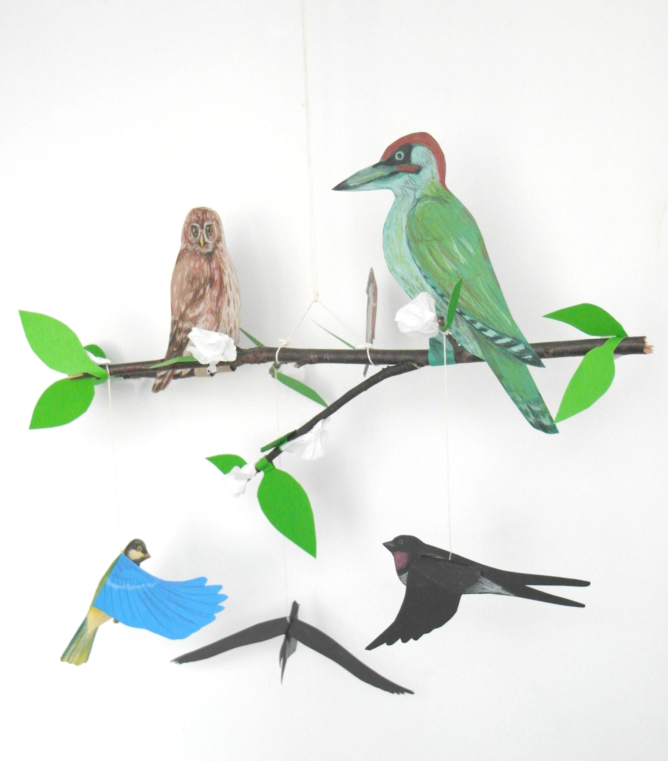 Ptaki siedzące na gałązce.