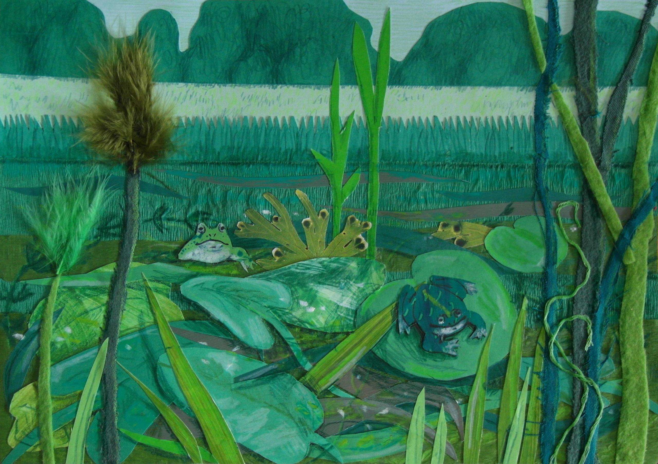 Zielony staw z żabami.