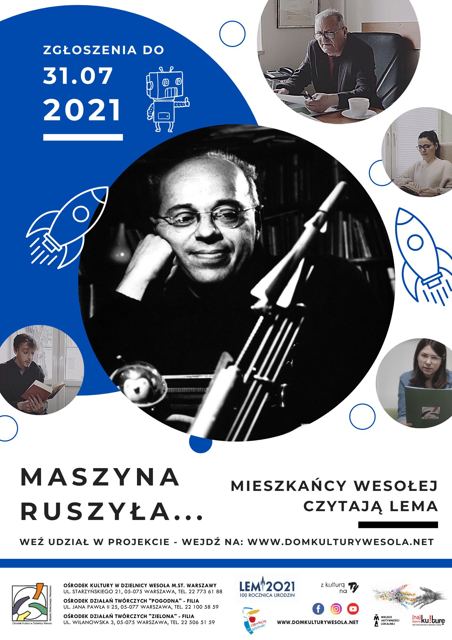 Plakat ze zdjęciem Stanisława Lema i informacjami o projekcie.