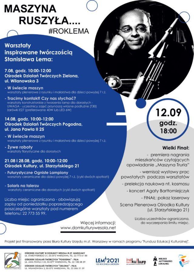 Plakat z informacjami o wydarzeniu i zdjęciem Stanisława Lema.