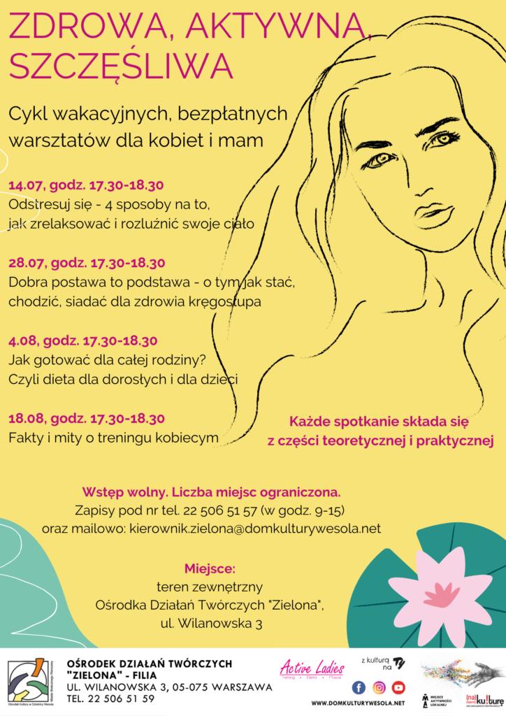 Plakat z twarzą kobiety i informacjami o warsztatach.