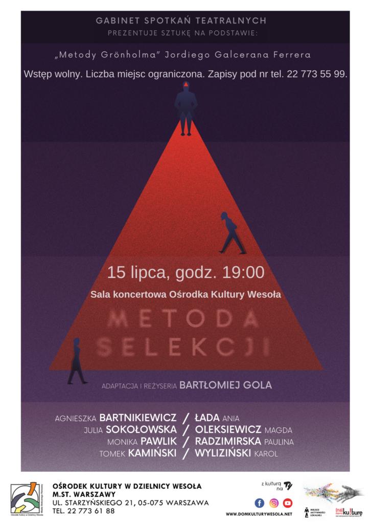 Plakat z czerwonym trójkątem na fioletowym tle i informacjami o spektaklu.