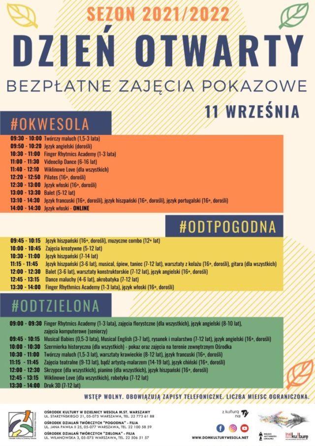 Kolorowy plakat z informacjami o wydarzeniu.