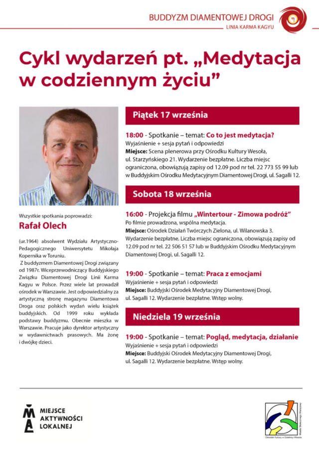 Plakat ze zdjęciem mężczyzny i informacjami o wydarzeniach