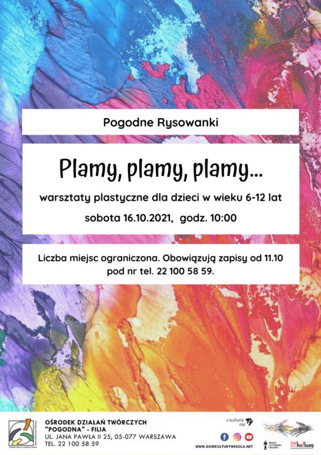 plakat z kolorowymi plamami i informacjami o wydarzeniu