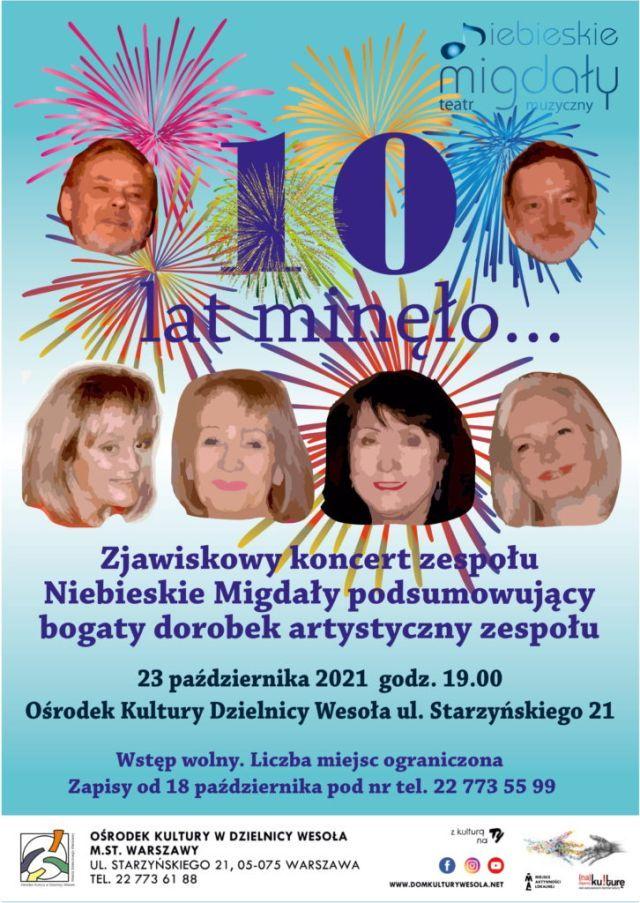 Plakat z twarzami sześciu artystów i fajerwerkami.